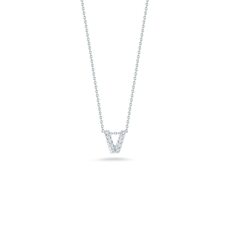 """Roberto Coin Love Letter V Necklace Length 16"""" adjustable to 18"""""""