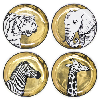 Gold & Black Animalia Coasters Set Of 4