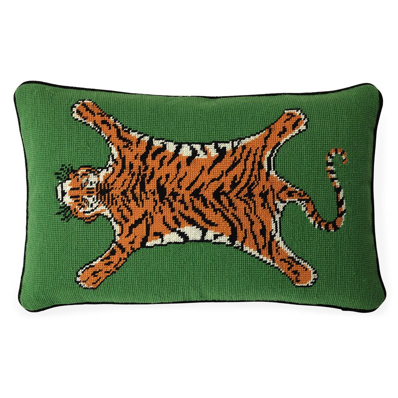 JONATHAN ADLER Tiger Needlpoint Pillow