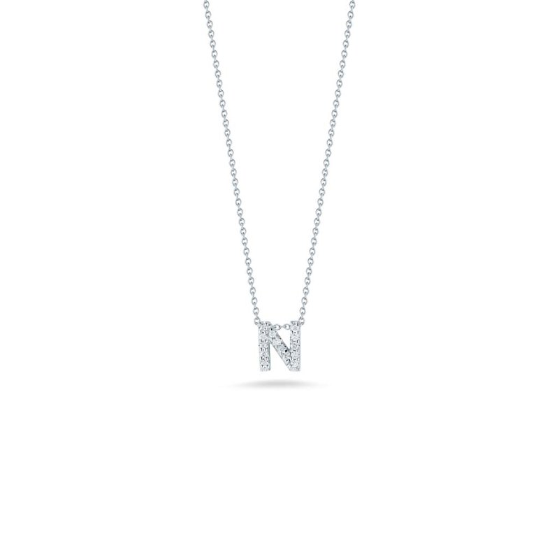 """Roberto Coin Love Letter N Necklace Length 16"""" adjustable to 18"""""""