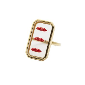 Triple Red Lips Ring
