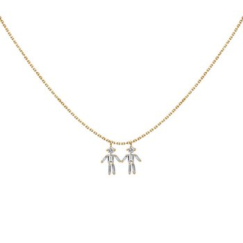 Two Boys Necklace Adjustable
