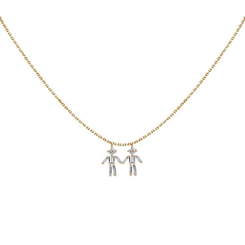 Little Ones Paris Two Boys Necklace Adjustable