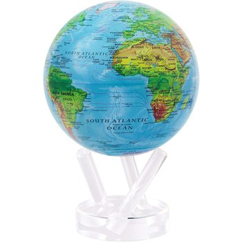 """4.5 """" Relief Map Blue Globe"""