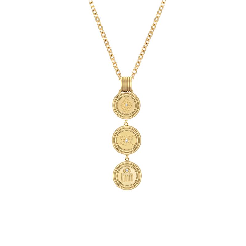 "Almasika Veni,Vidi,Vici Medallion Lariat Necklace 18"" Length"