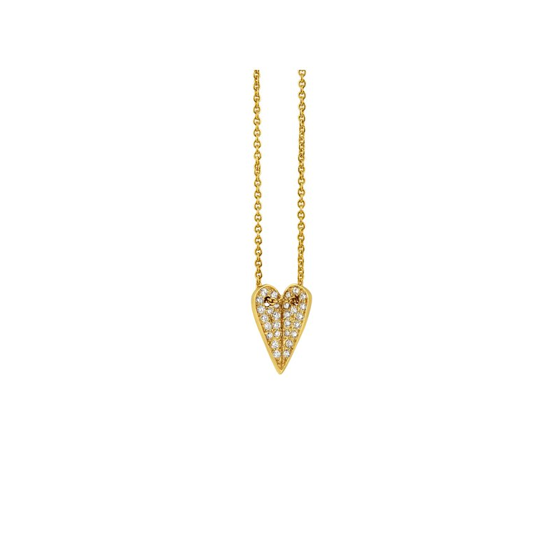 """Elena Votsi Heart Pendant Necklace Length 16.5"""" with a loop at 16"""""""