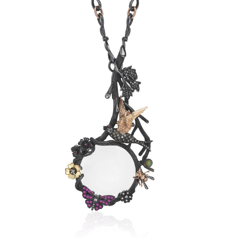 """Aida Bergsen Looking Glass Necklace Length 30"""""""