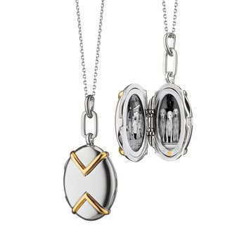 Oval Two-Tone Locket Necklace