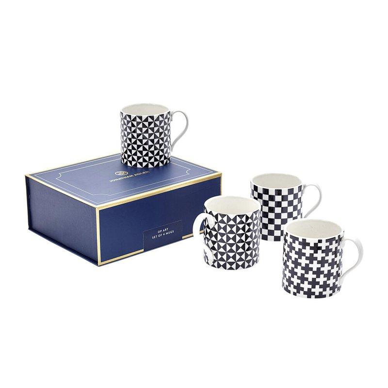 JONATHAN ADLER Op Art Black & White Mug Set Of Four