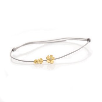 Triple Flower Grey Nylon Cord Bracelet