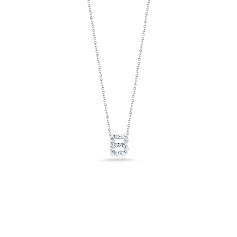 """Roberto Coin Love Letter B Necklace Length 16"""" adjustable to 18"""""""