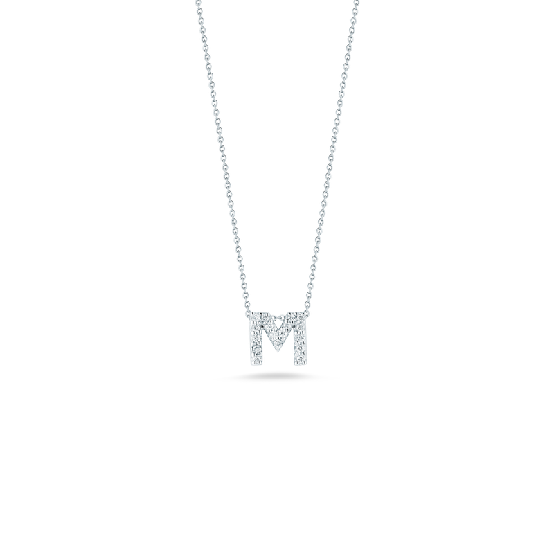 """Roberto Coin Love Letter M Necklace Length 16"""" adjustable to 18"""""""