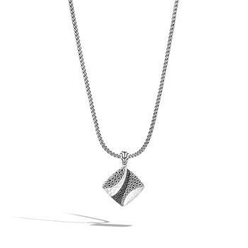 """Hammered Square Pendant Necklace 18-20"""" Length"""