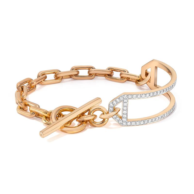 "Walters Faith Side Cuff & Chain Link Toggle Bracelet Length 6.5"""
