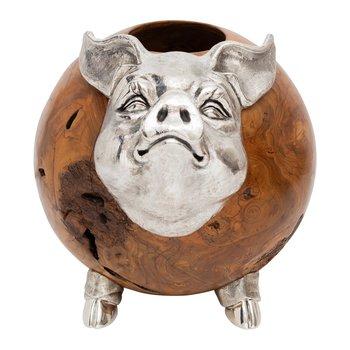 Wooden Pig Sculpture