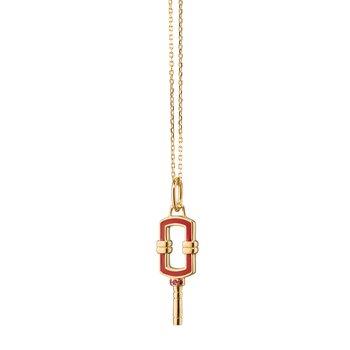 "Mini Rectangular Key Necklace 17"" Length"