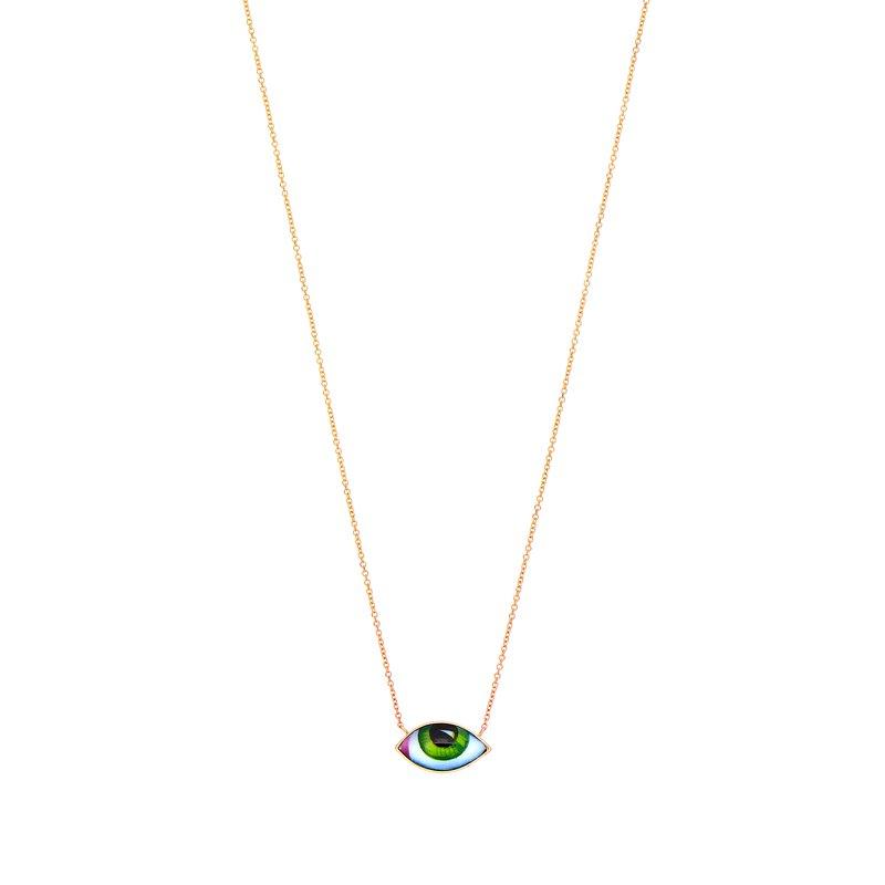 """Lito Karakostanoglou Green Eye Necklace Length 16"""""""