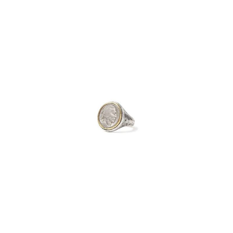 JOHN VARVATOS Indian Head 21mm Coin Ring Size 10