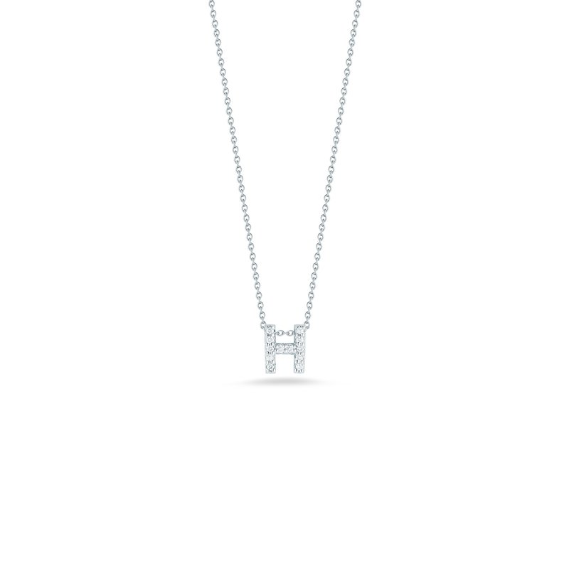 "Roberto Coin Love letter H Necklace Length 16"" adjustable to 18"""