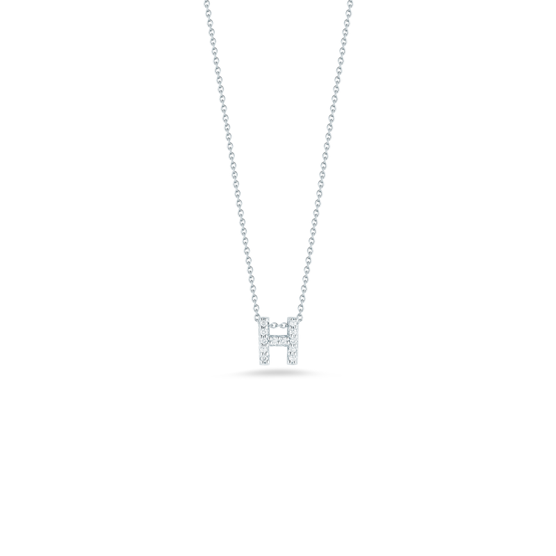 """Roberto Coin Love letter H Necklace Length 16"""" adjustable to 18"""""""