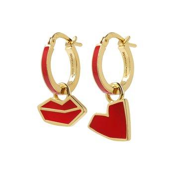 Red Lips & Heart Earring