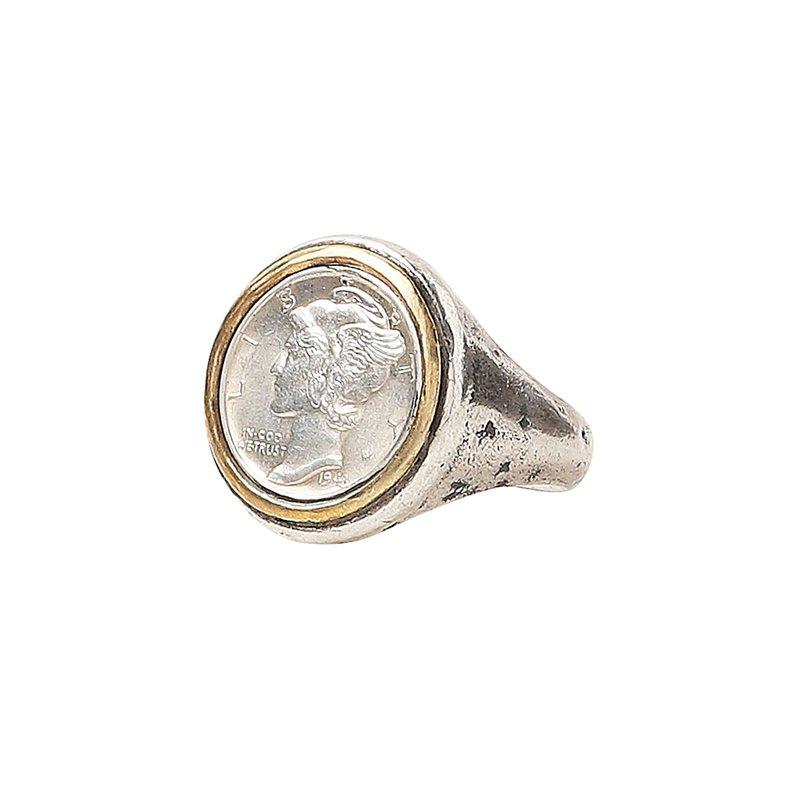 JOHN VARVATOS Mercury Dime Coin Ring Size 10