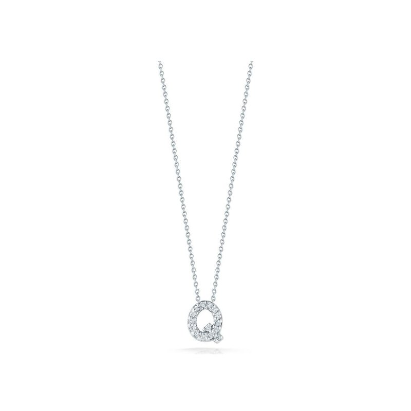 """Roberto Coin Love Letter Q Necklace Length 16"""" adjustable to 18"""""""