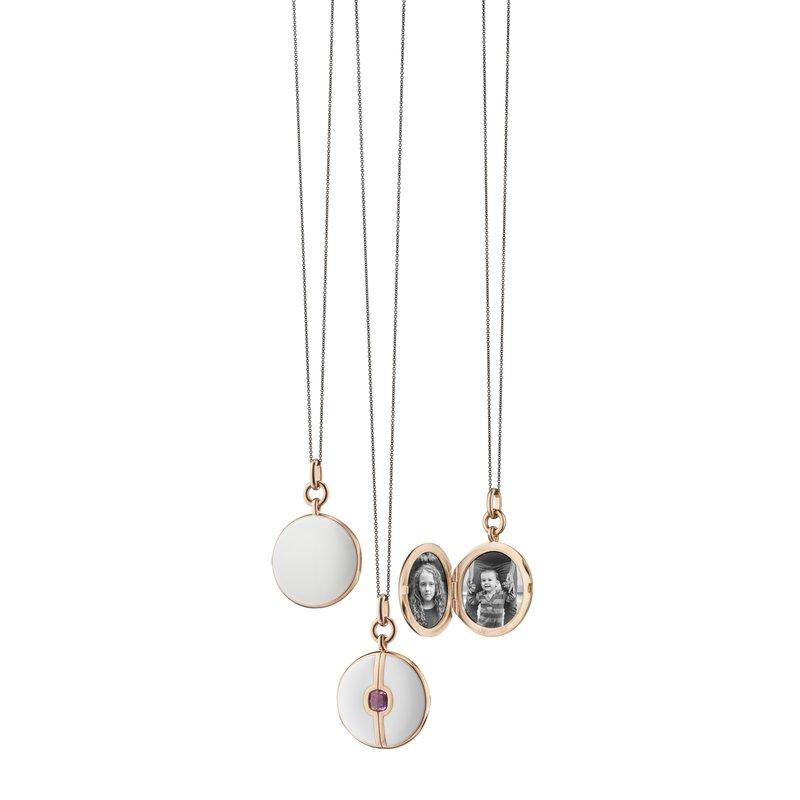 "Monica Rich Kosann Round Locket Necklace Length 16"" adjustable to 17"""