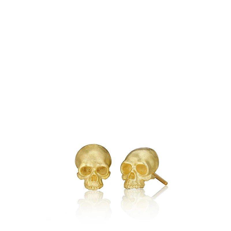 Anthony Lent Tiny Skull Stud Earrings