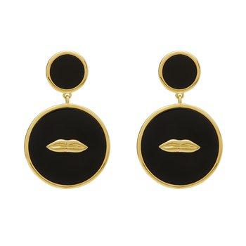 Onyx Lips Earrings