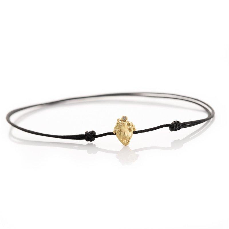 Lene Vibe Black Cord Face Charm Bracelet