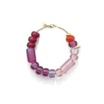 "Ombre Pink Glass Beads Bracelet 7"" Length"