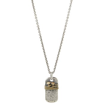 """Double Nails Wire Wrap Dog Tag Necklace 24"""" Length"""