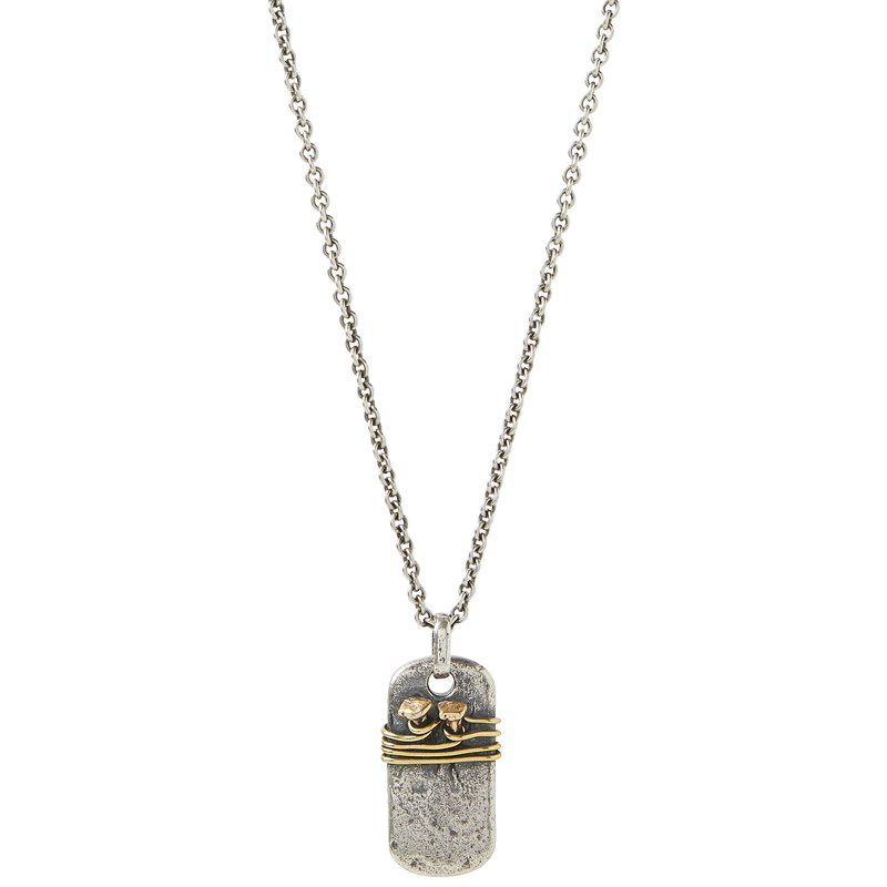 """JOHN VARVATOS Double Nails Wire Wrap Dog Tag Necklace 24"""" Length"""