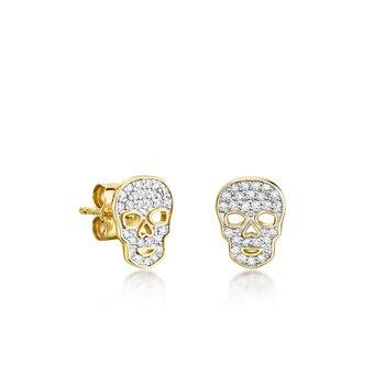 Tiny Pave Skull Stud Earrings