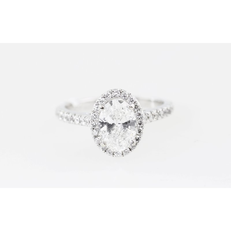 Knappett Designs Oval diamond with halo engagement ring