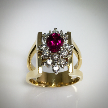 Lady's Pink Tourmaline and diamond ring