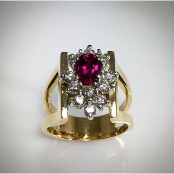 Lady's Pink Tourmaline and diamond ring
