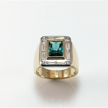 Scissor Cut Tourmaline and Diamond Ring