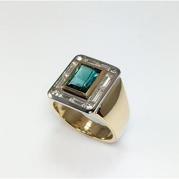 Scissor Cut Tourmaline and Diamond Ring