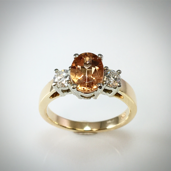 Lady's Natural Topaz and diamond ring