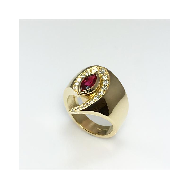 VandenDool Jewellers Custom Designs Marquise Ruby and Diamond Ring