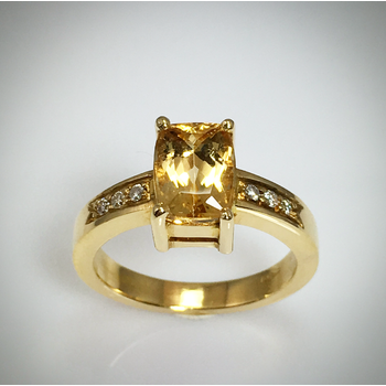 Lady's Golden Topaz and diamond ring