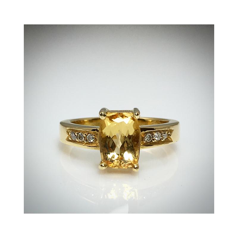 VandenDool Estate Jewellery Lady's Golden Topaz and diamond ring