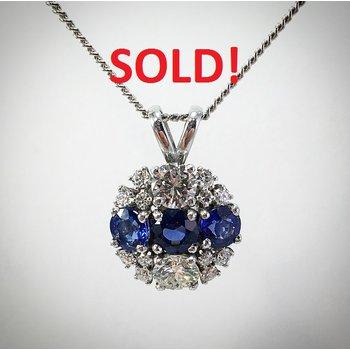 Lady's Blue Sapphire and diamond pendant