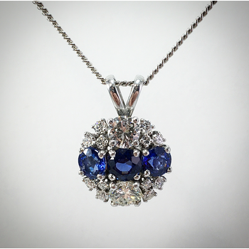 Lady's Blue Sapphire and diamond pendant
