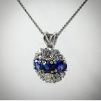 VandenDool Estate Jewellery Lady's Blue Sapphire and diamond pendant