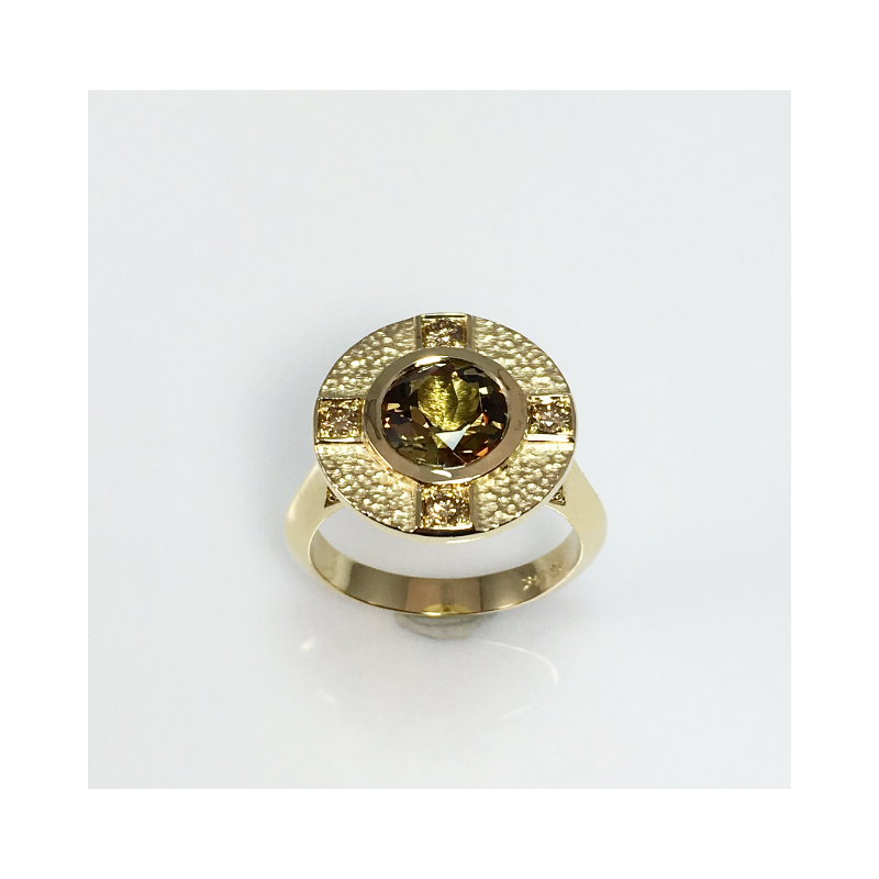 VandenDool Jewellers Custom Designs Andalusite and Champagne Diamond Ring