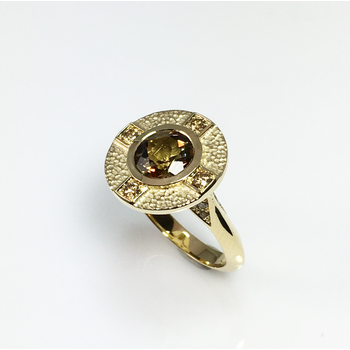 Andalusite and Champagne Diamond Ring
