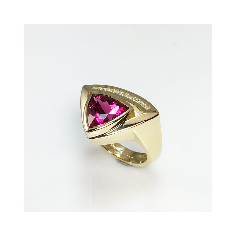 VandenDool Jewellers Custom Designs Pink Tourmaline and Diamond ring